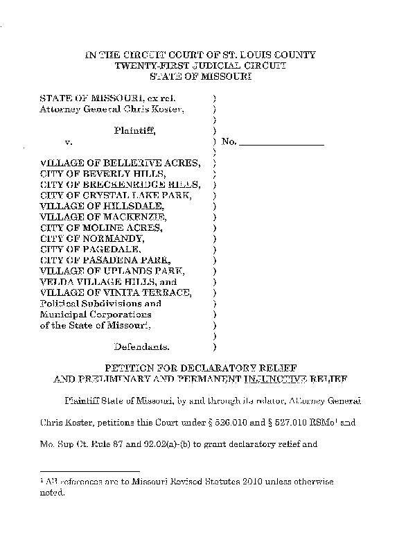Koster's lawsuit against 13 St. Louis County municipalities
