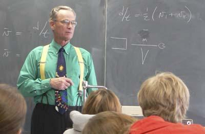 Colorful 70-year-old teacher makes physics fun