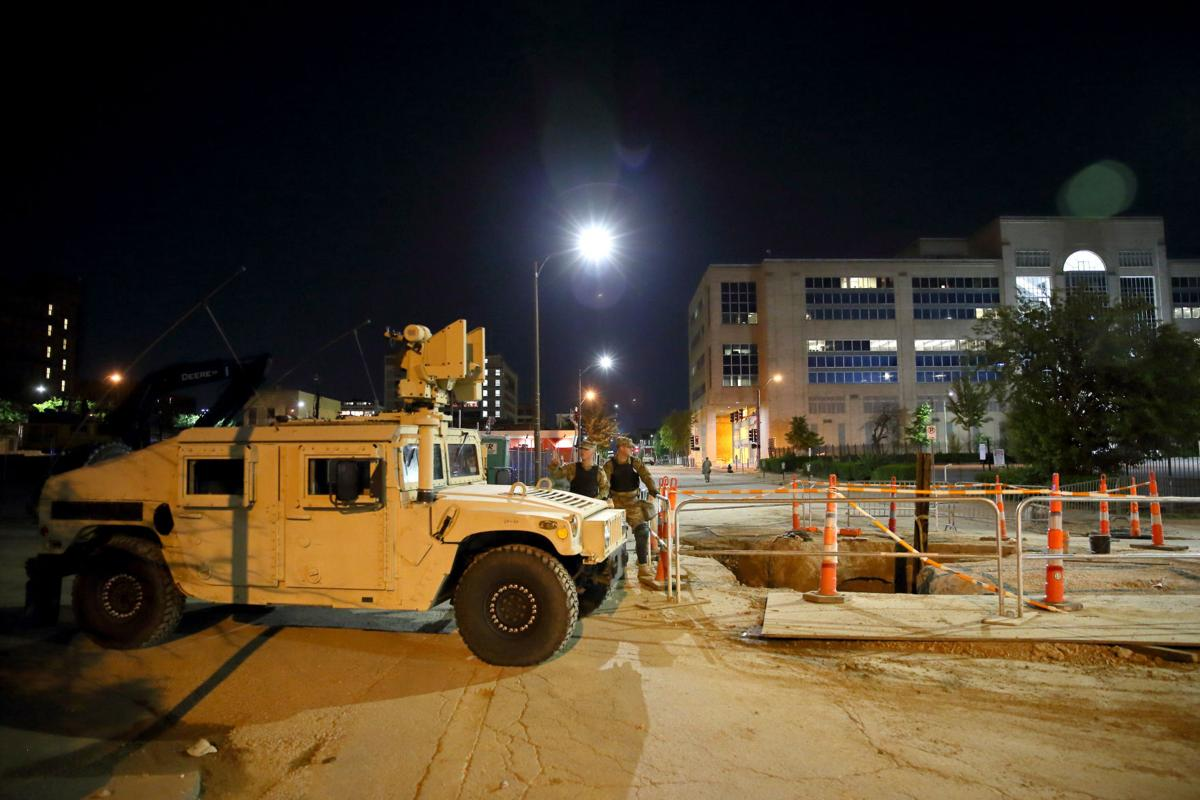 Missouri National Guard protects St. Louis police headquarters