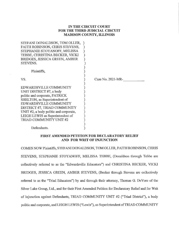 Teachers' lawsuit against Illinois school districts over vaccine mandates