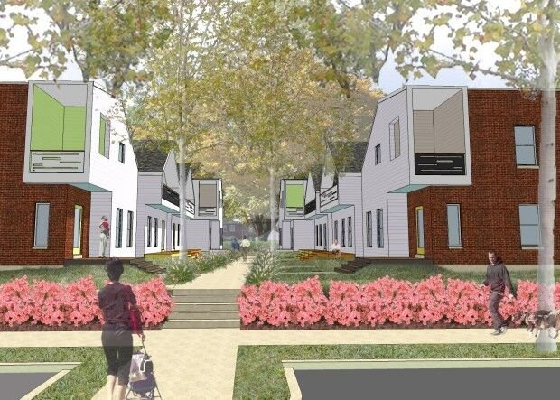 Rendering of houses and courtyard at DeTonty Close