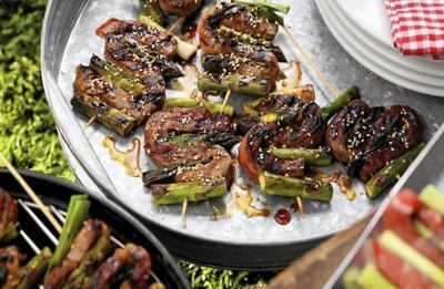 Teriyaki Beef and Asparagus Skewers