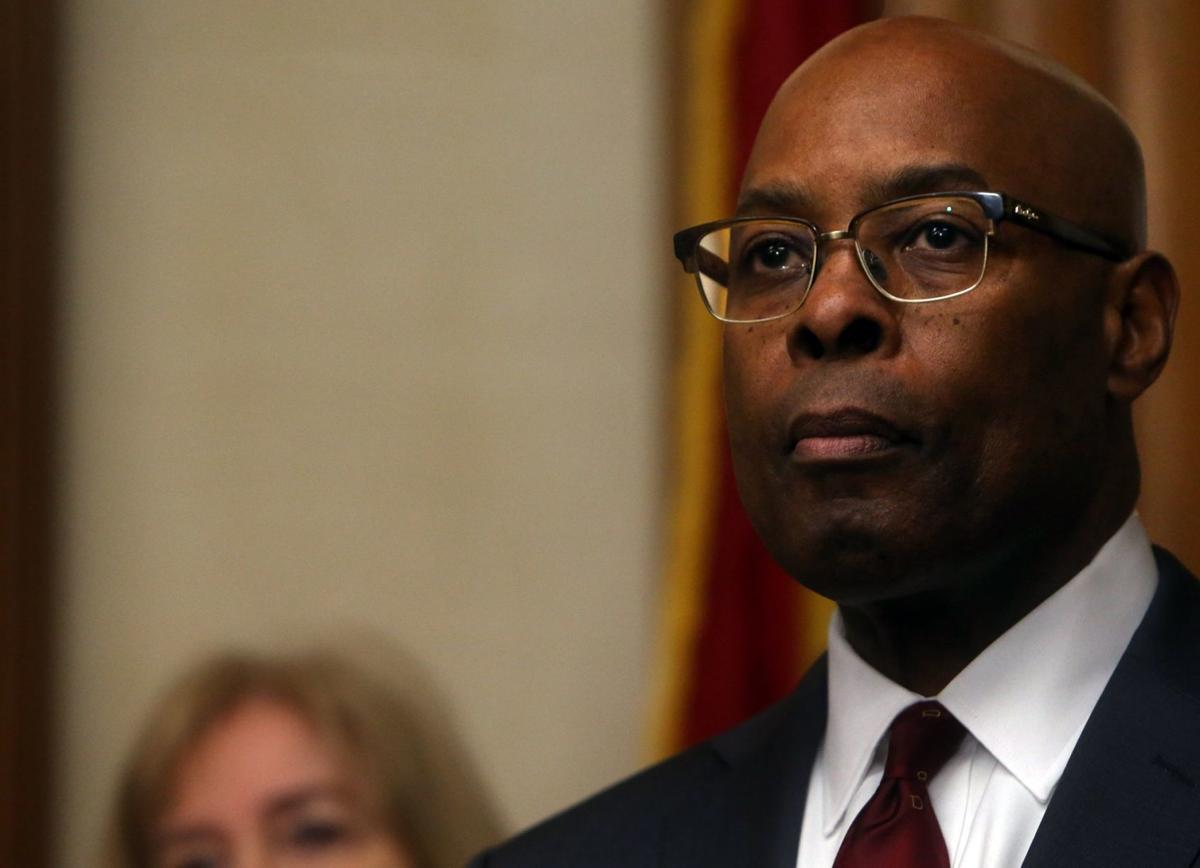 Director of Public Safety for the city of St. Louis Judge Jimmie Edwards meets the press