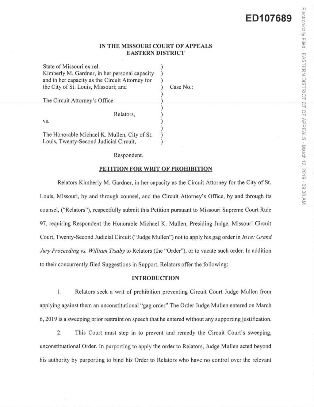 Appeals court delays order requiring Circuit Attorney's