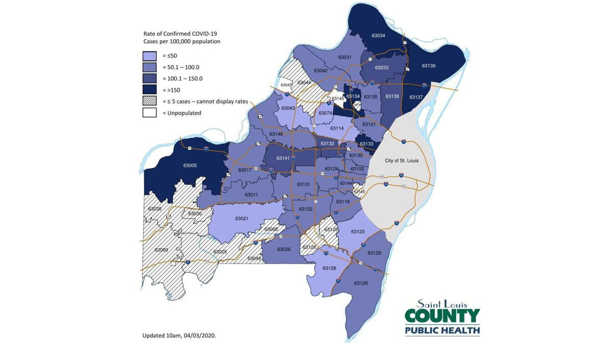 COVID-19 cases in St. Louis County by ZIP code as of April 3, 2020