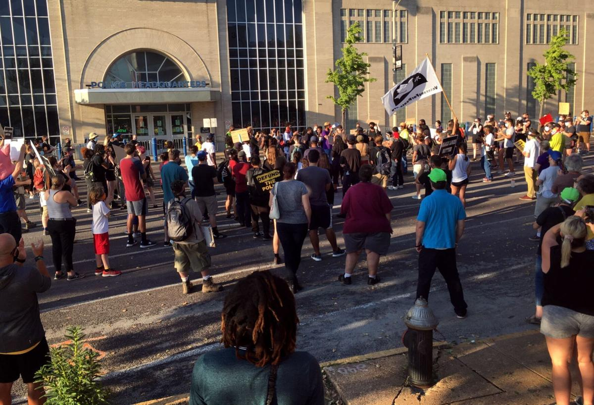 Expect Us protest outside St. Louis police headquarters