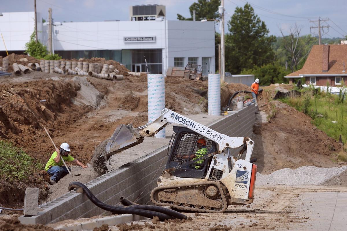 Construction along MetroLink in Maplewood