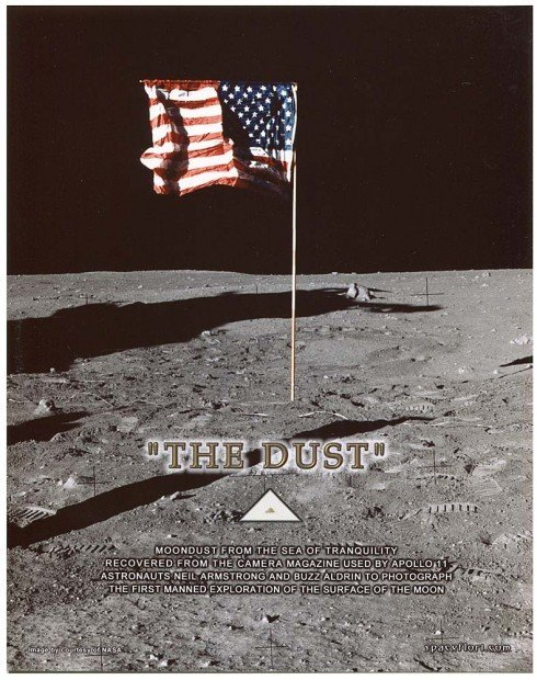 Apollo Moon dust and accompanying fact sheet from the auction