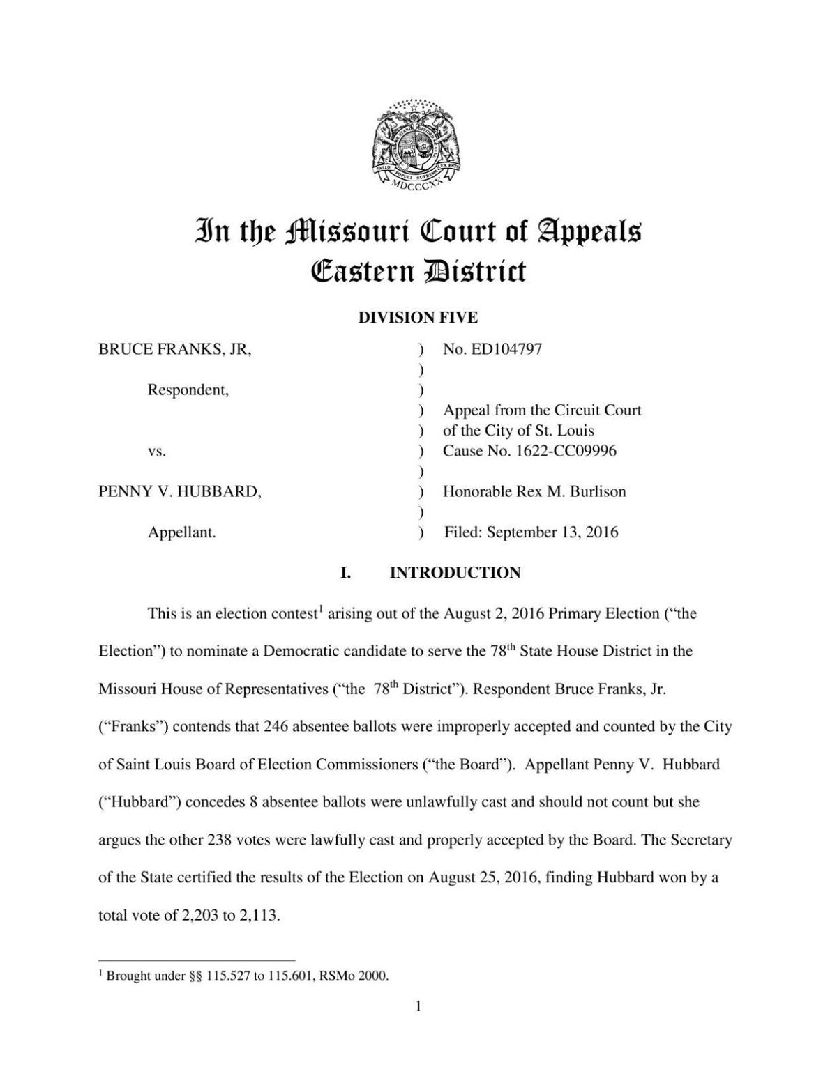 Appellate court decision in Franks vs. Hubbard