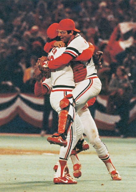 WED OCTOBER 20 1982 World Series MVP Darrell Porter Leaps Into The Arms Of Cardinals Reliever Bruce Sutter After Struck Out Gorman