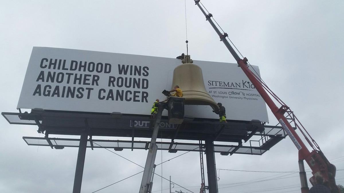 Giant bell on billboard