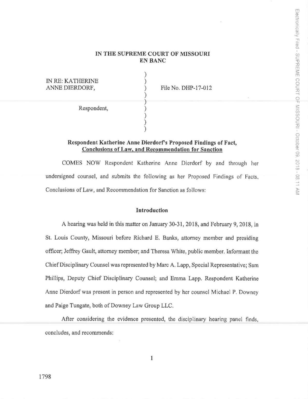 Dierdorf proposed findings of fact and conclusion of law