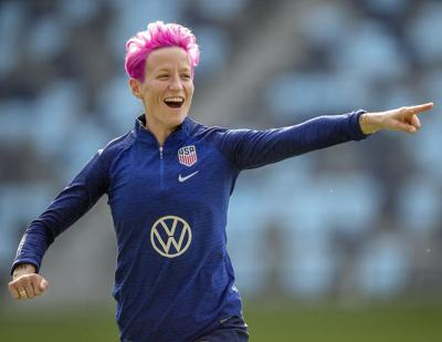 United States star midfielder Megan Rapinoe goes through a warmup at Allianz Field with her World Cup teammates in Falcon Heights, Minn. Rapinoe was named FIFA's women's world player of the year.