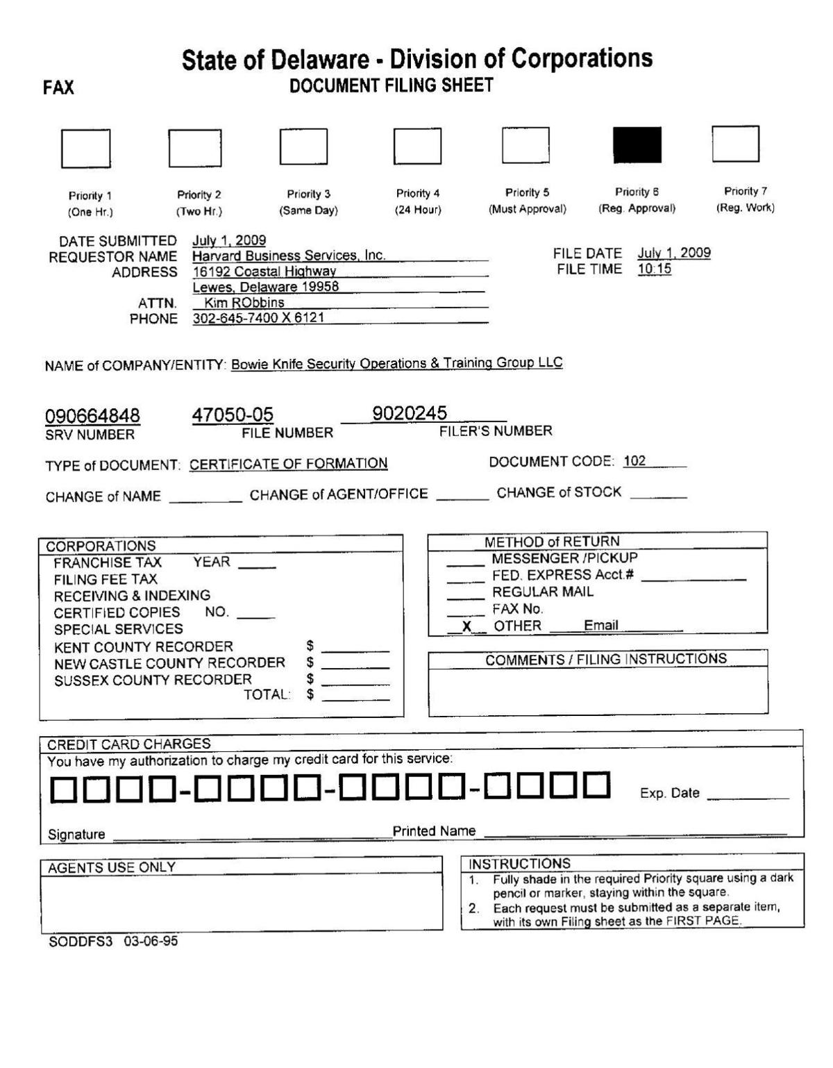 Bowie Knife Security Certificate Of Formation Online Stltoday