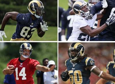 Rams players Quick, Joyner, Armstrong and Hill