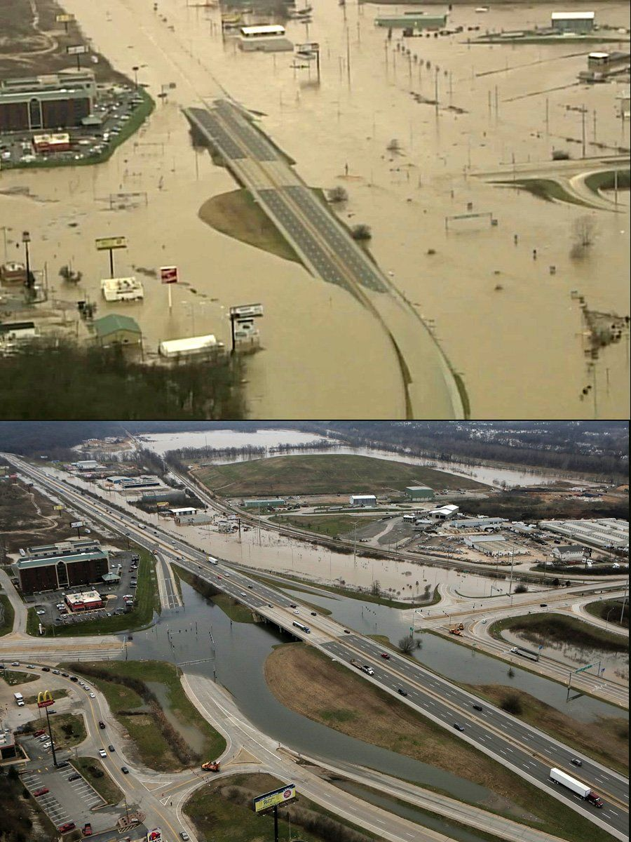 Two views of Interstate 44, one day apart