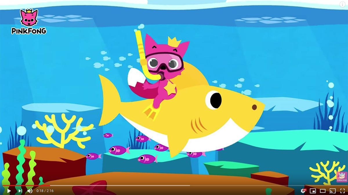baby shark with pinkfongs mascot the pink fox also named pinkfong frequently appears in their videos credit pinkfong kids songs storiesyoutube