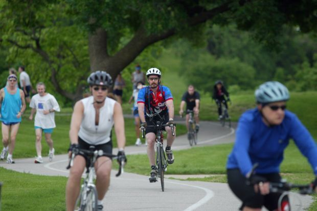 Bikers on the path in Forest Park
