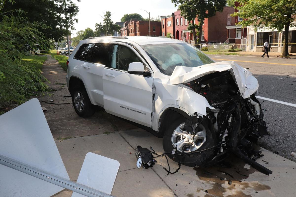 Crash scene at end of police chase in St. Louis on July 24, 2019