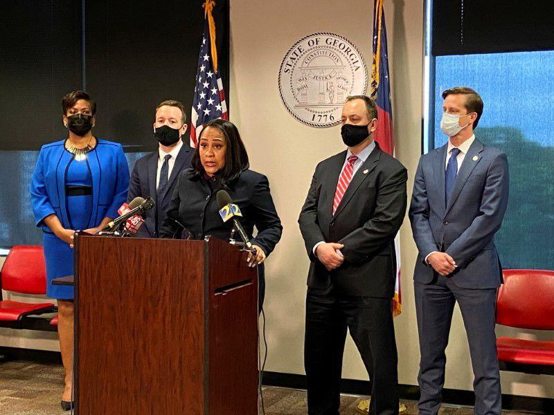 Fulton County District Attorney Fani Willis speaks at a news conference in Atlanta, Georgia