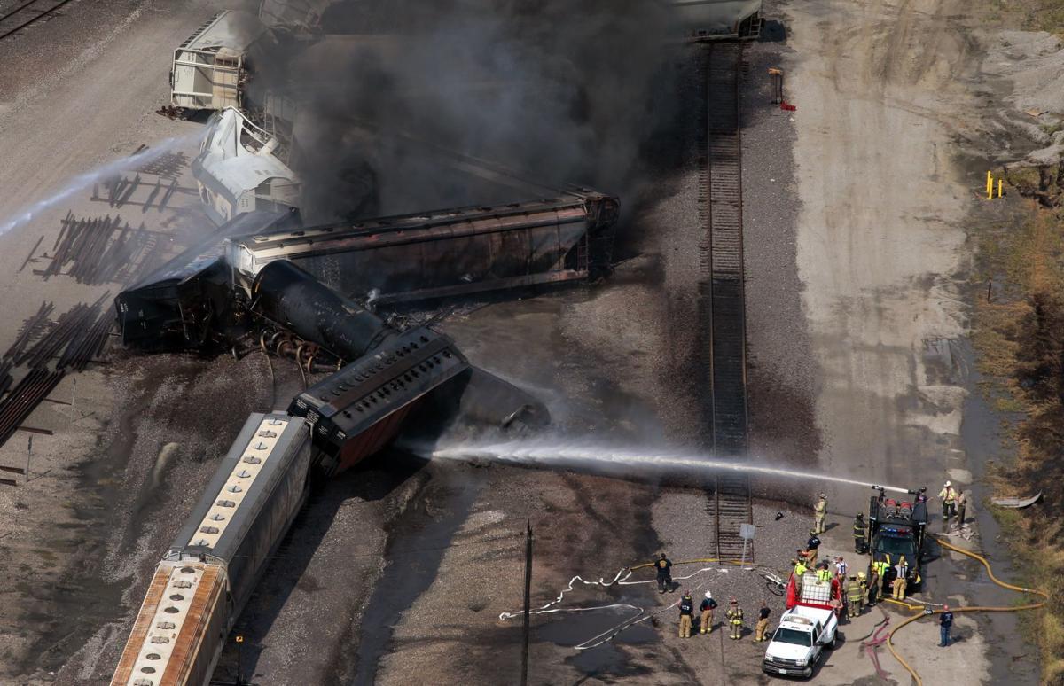 Train derailment sparks fire, evacuations in Dupo