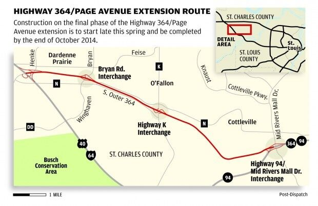 Highway 364 Page Avenue extension map