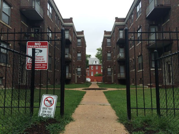 Apartments in the 5800 block of Cabanne Avenue where two people killed in July