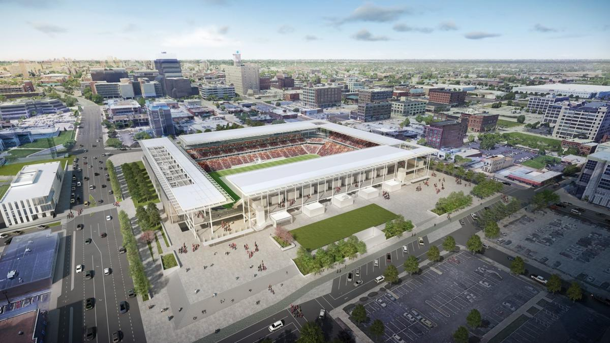 St. Louis MLS stadium, aerial from 20th and Market