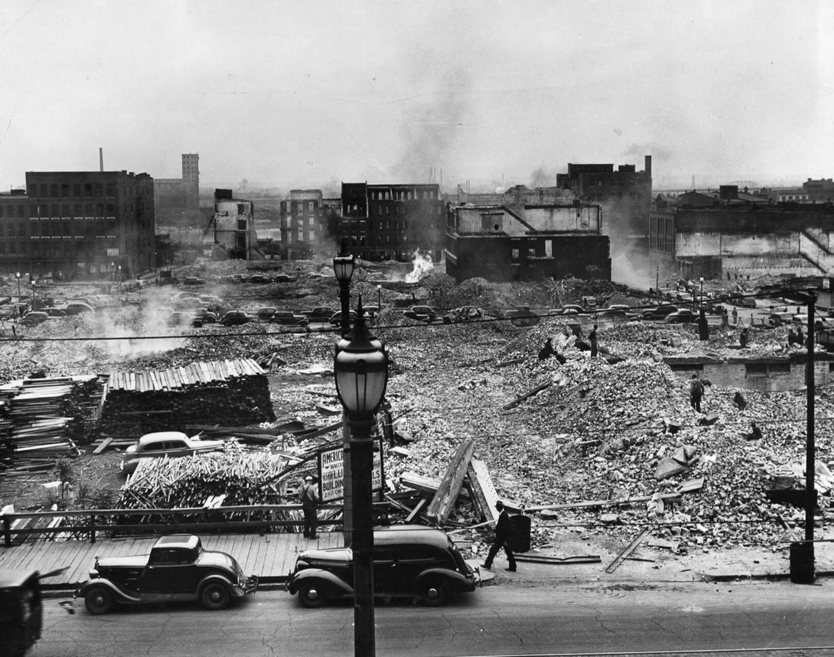 Look Back:  Riverfront demolition for Jefferson National Expansion Memorial