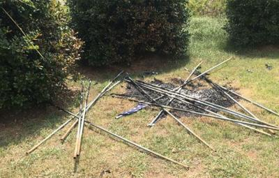 Burned flags at South Carolina funeral home