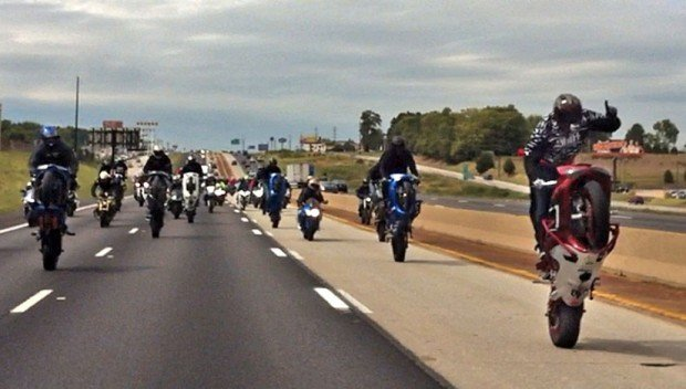 Gang of motorcycles on Interstate 270
