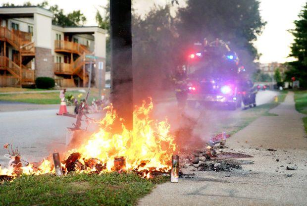 Michael Brown memorial burns
