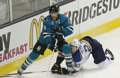 The Blues and Sharks battle in Game 3 at San Jose