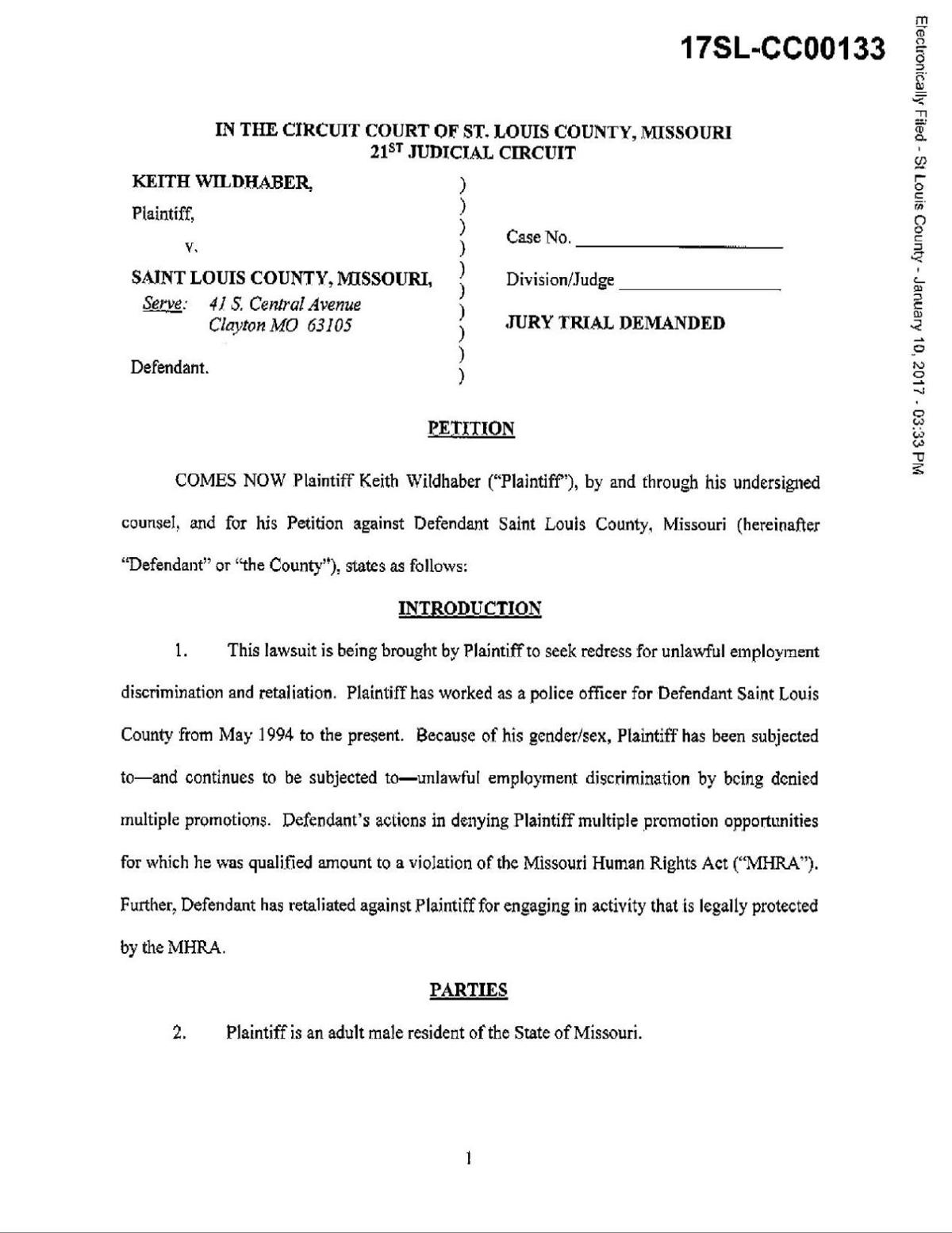 Keith Wildhaber v. St. Louis County