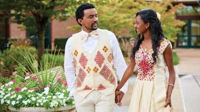 Ethiopian wedding projects 'church white' party for 600