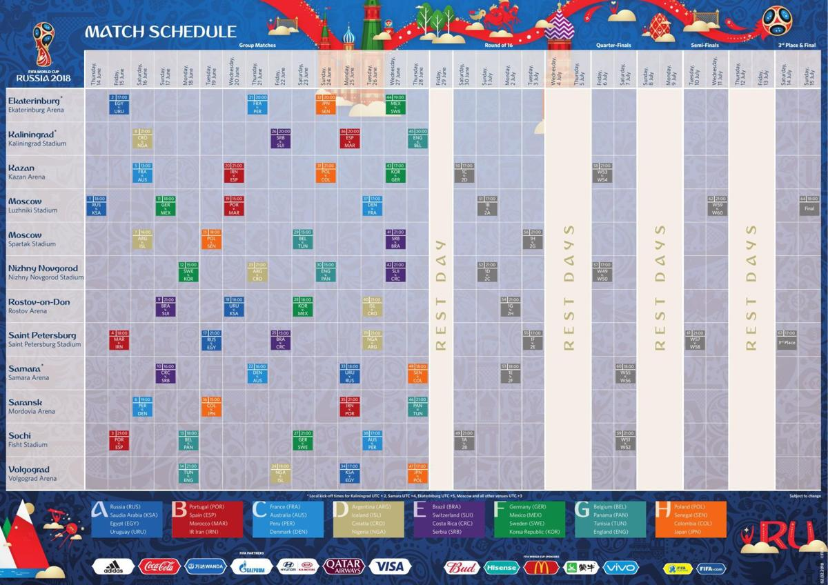 2018 FIFA World Cup match schedule | Soccer | stltoday com