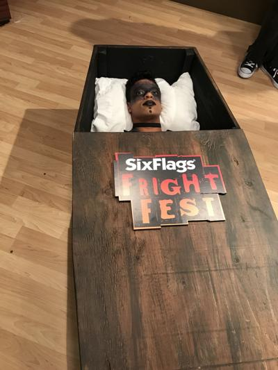 A Six Flags St Louis Fright Fest Employee Poses In One Of The Coffins That Will Be Used In The 30 Hour Coffin Contest P O Courtesy Of Six Flags St