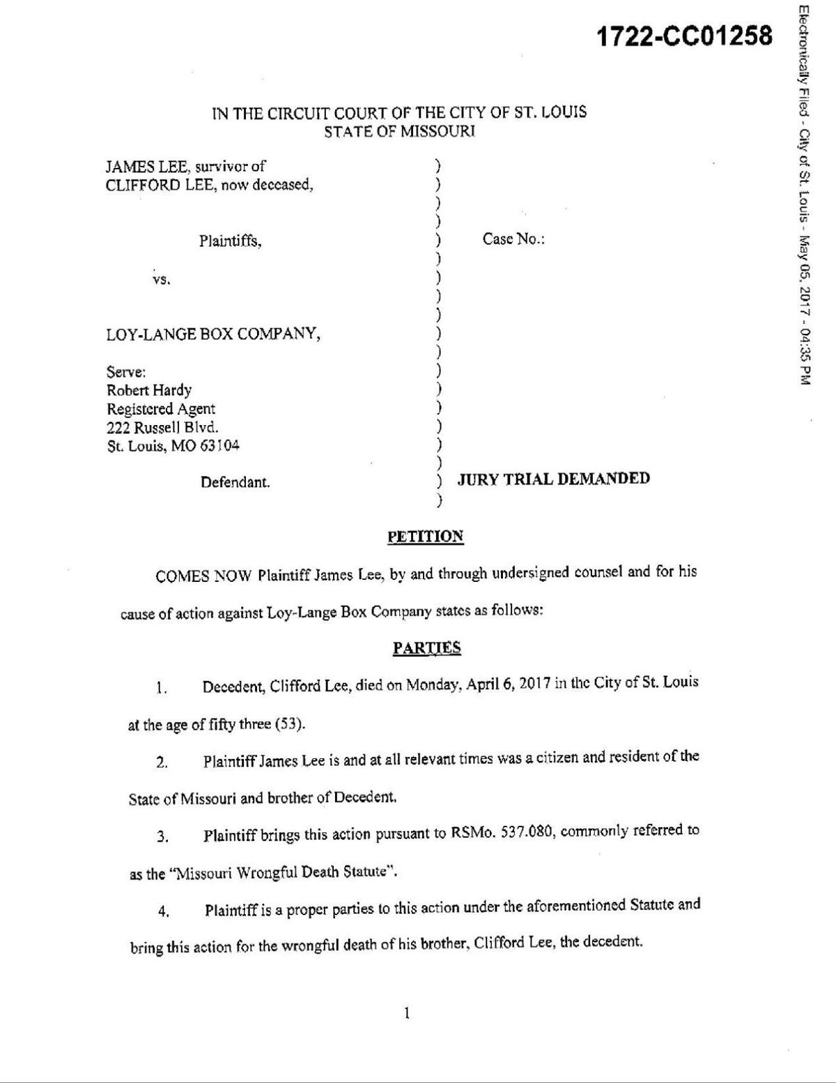 Read the wrongful death lawsuit by James Lee