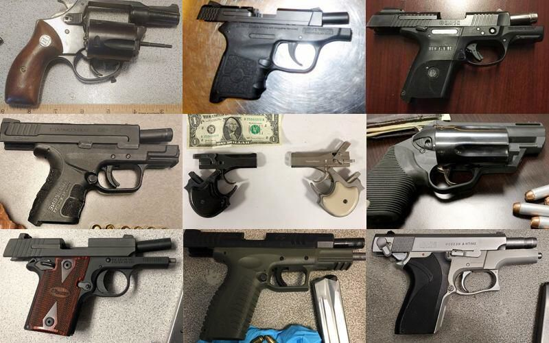 Some of the guns discovered by TSA Nov. 4-17 nationwide