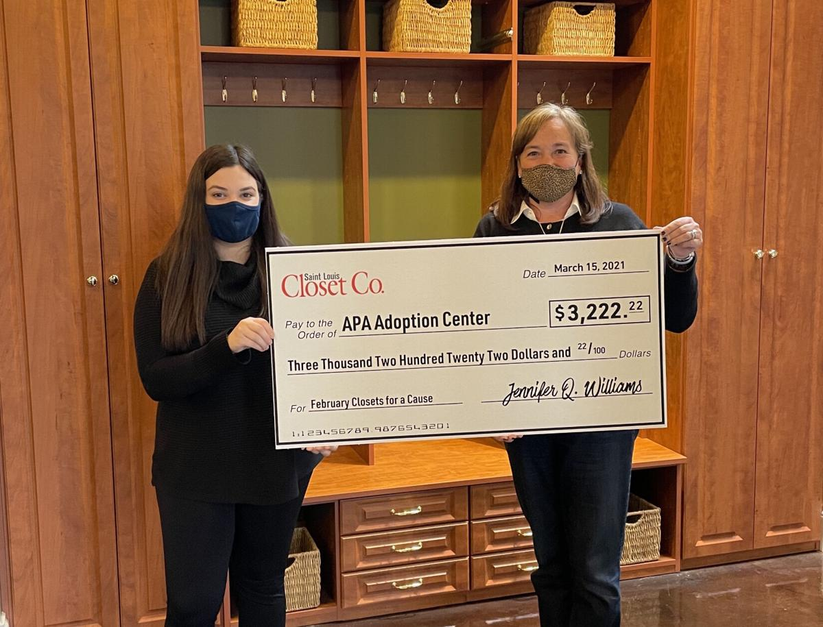 Saint Louis Closet Co. is donating $3,222.22 to the APA Adoption Center