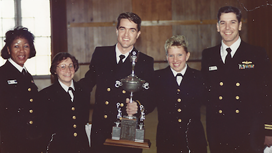 Faucheux and fellow sailors