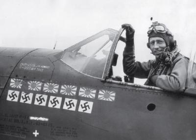 James H. Howard in cockpit