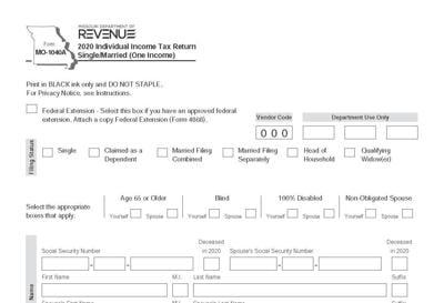 Missouri income tax form for 2020
