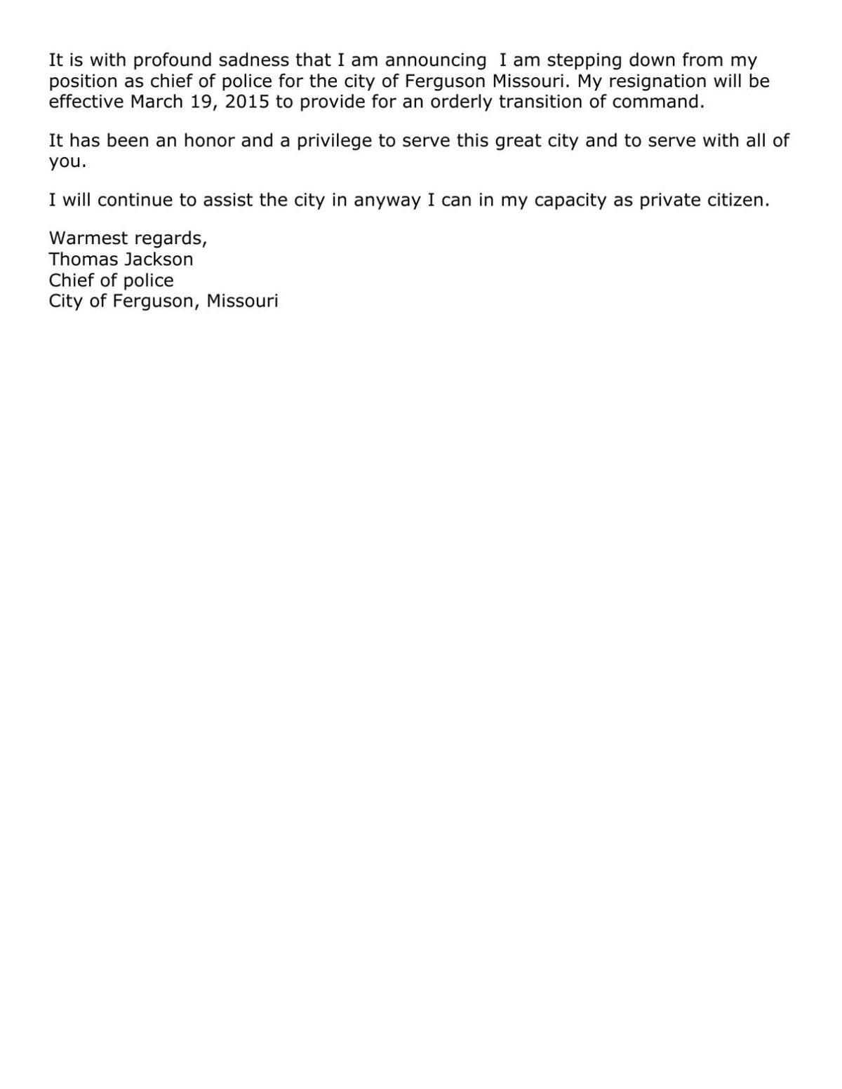 Tom Jackson's resignation letter