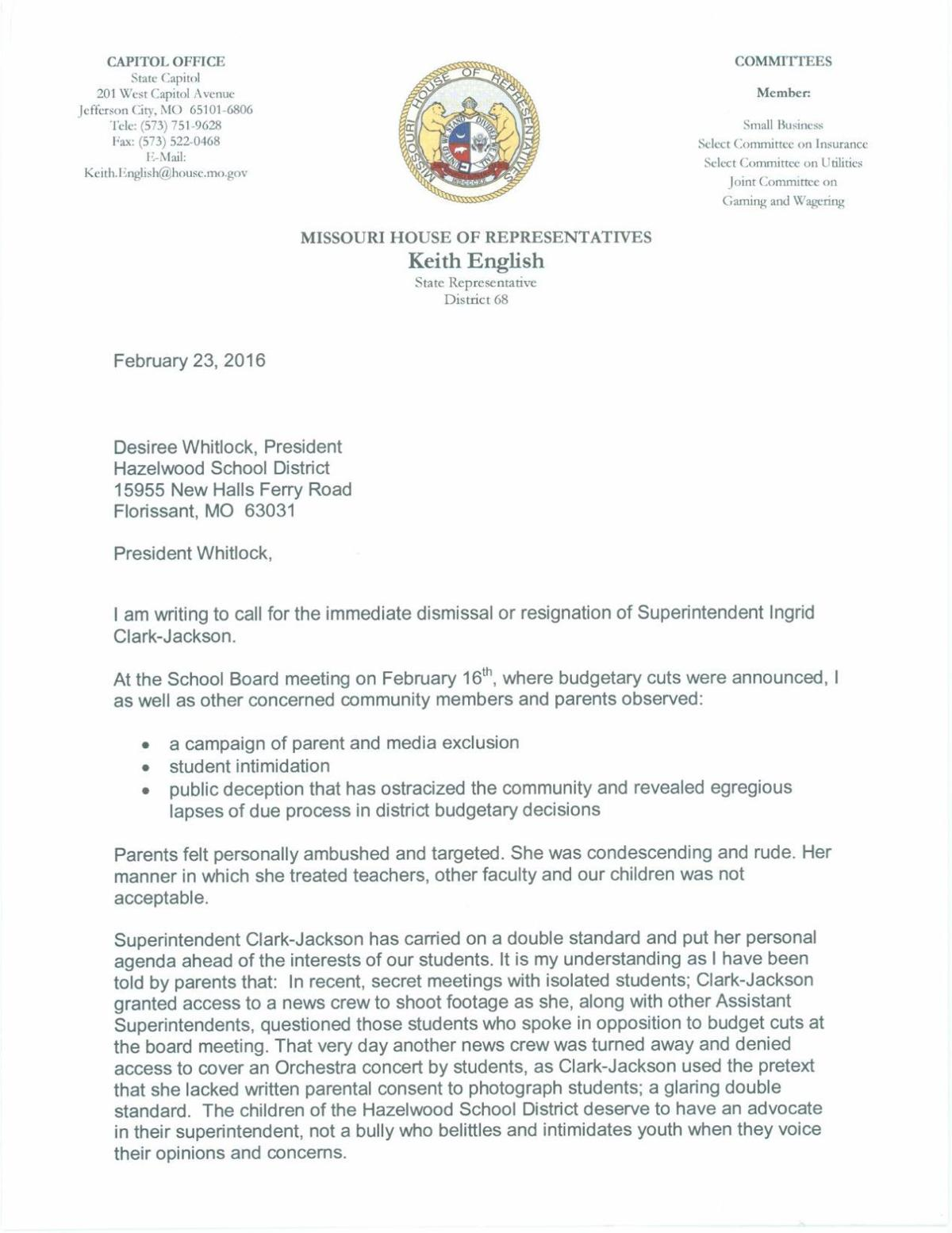 Letter From State Rep Keith English Multimedia Stltoday