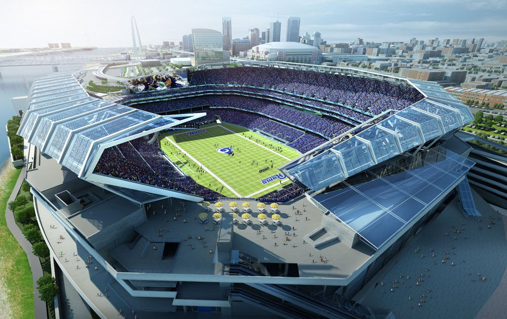 Proposed riverfront stadium -aerial view from north