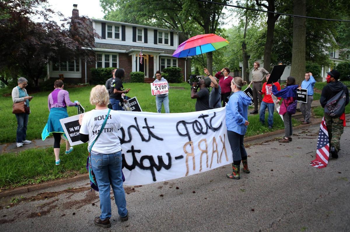 Ferguson lawyer Stephanie E. Karr protested