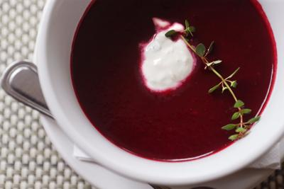 Thyme Roasted Beet Soup at Big Sky Cafe
