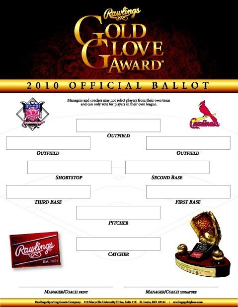 Rawlings Gold Glove Award ballot distributed to Cardinals coaches.