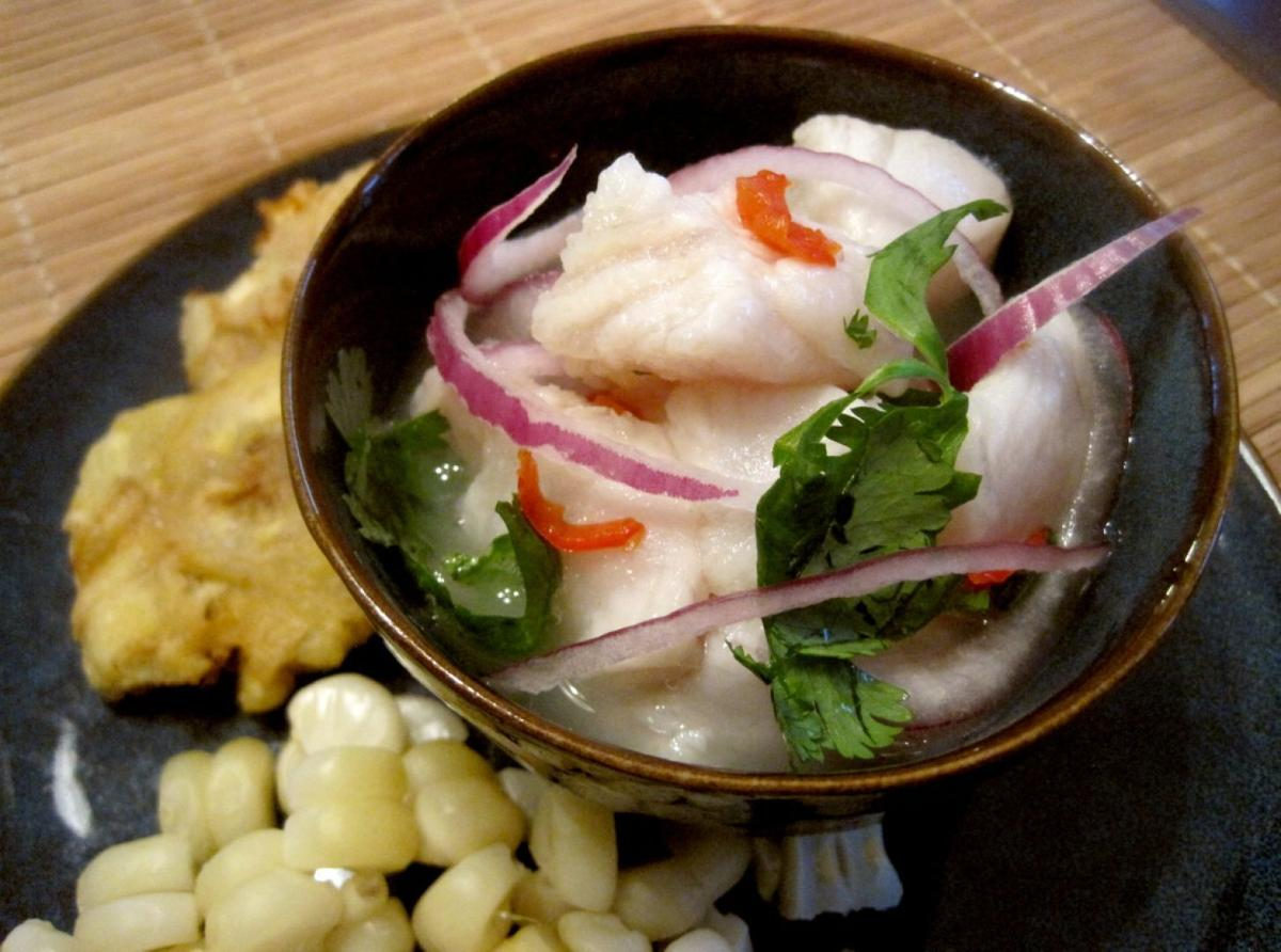 Whats cooking peruvian puerto rican heritages inspire this jose barradas and fabiola gagliardi developed their recipe for ceviche with choclo and tostones by combining traditions from peruvian cooking forumfinder Images